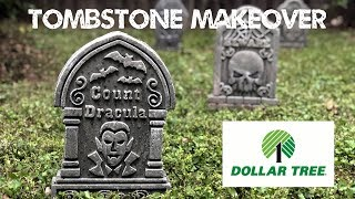 Dollar Store Tombstone Makeover - Cheap Easy DIY Graveyard Tutorial