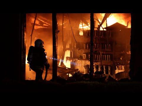 Pożar hurtowni materiałów budowlanych Budmax w Pabianicach