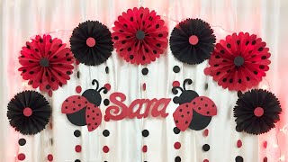 Ladybug Theme Birthday Party Decoration | Very EASY Birthday Party Decoration ideas at home