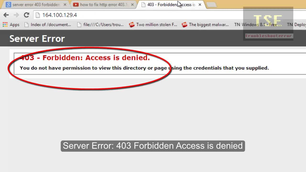 Server Error 403 Forbidden Access Is Denied Youtube