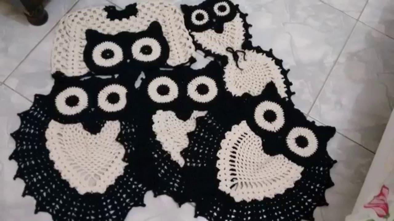 Jogo de Banheiro e Tapete Tipo Coruja - Preto e Branco ( Crochê ...
