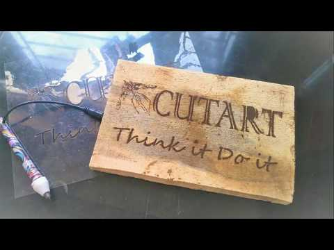 Chemical burning of designs on wood with Stencils and Potassium Permanganate