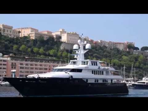 Luxury Yacht Cyan, owned by U2 guitarist The Edge, leaving Monaco