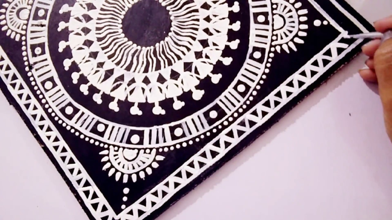 Warli Art Decorative Wall Painting Easy Home Decor Ideas Youtube