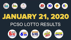 January 21, 2020 ( Tuesday ) Lotto Results