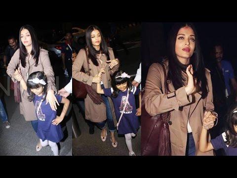 Aishwarya Rai बेटी Aaradhya के साथ Cannes 2017 के लिए रवाना - देखिये Airport का विडियो