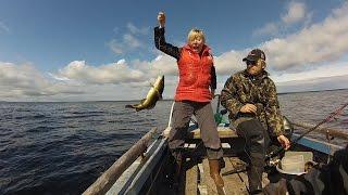 Экстримо-эмоциональная рыбалка. Белое море-2015. Ловим треску без удочек.(Рыбачим. И не забавы ради, а прокорма для. Женщина первый раз ловит рыбу. Причем ловит без удочки. Просто..., 2015-09-25T11:05:13.000Z)