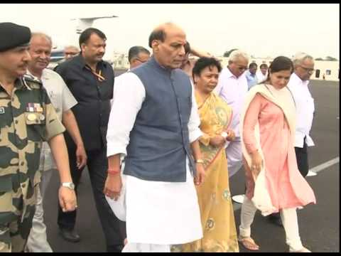 Union Home Minister Rajnath Singh arrives at Jamnagar airport on Gujarat visit