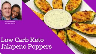 Keto low carb jalapeno poppers recipe -  three cheese jalapeño poppers (low carb + gluten free)