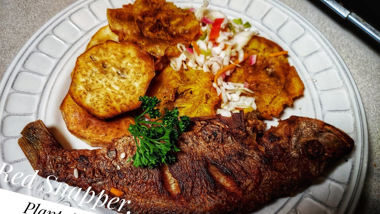 How I make Haitian style fried red snapper with fried ...