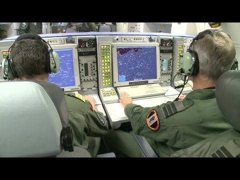 E-3 Sentry Airborne Warning & Control System. Take-Off, Landing, Interior Shots