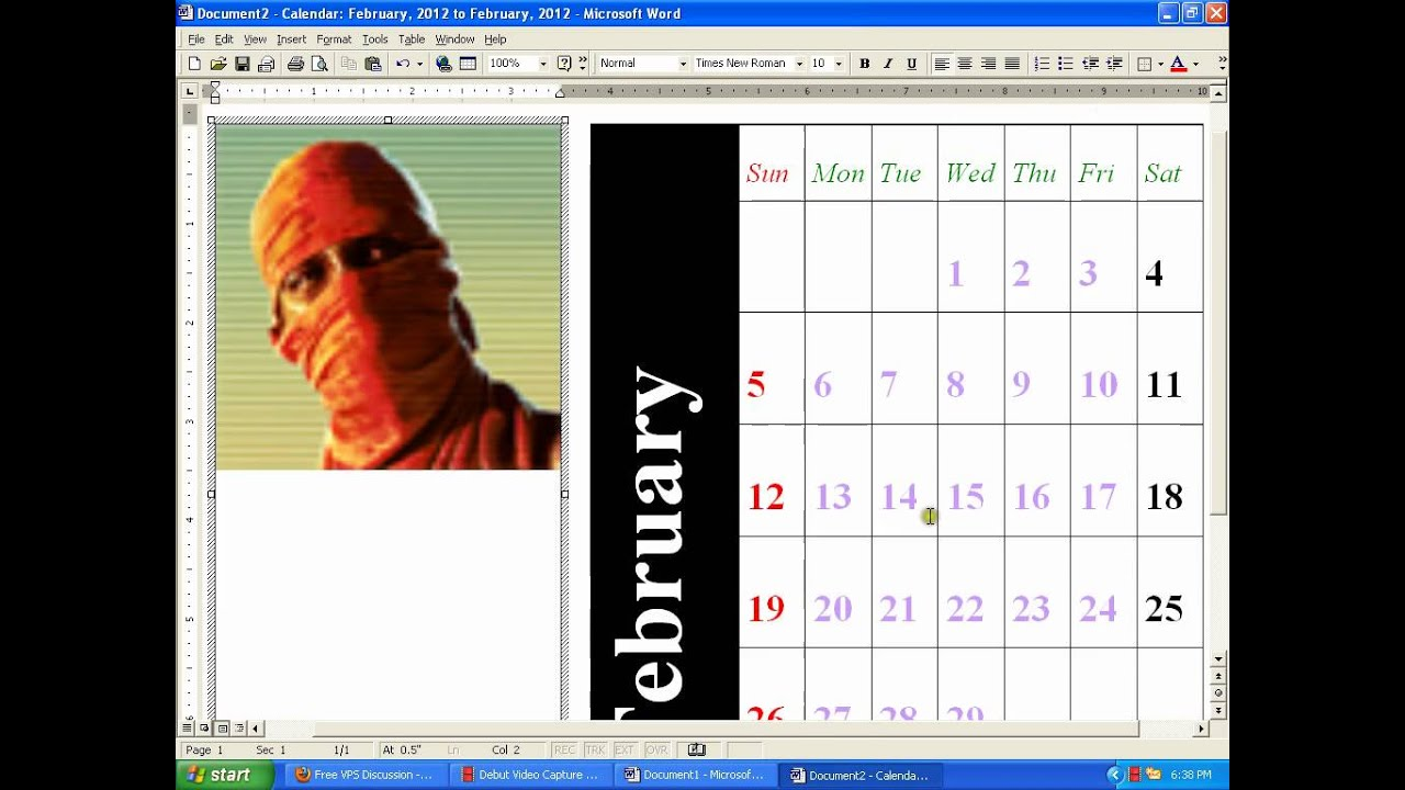 how to make a calendar on microsoft word