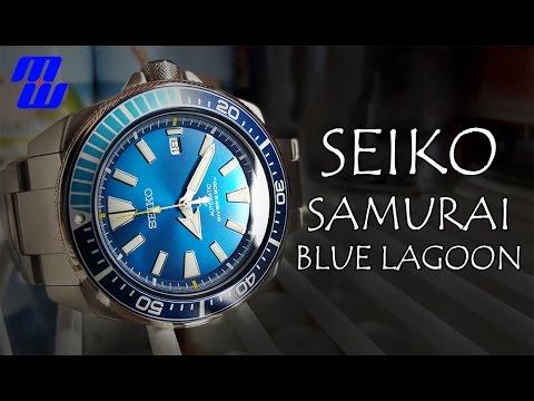 Seiko Samurai Blue Lagoon (SRPB09) - Mega Review - Measurements, Lume, Strap Changes