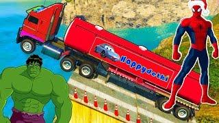 Человек паук катается на больших цветных грузовиках, мультики, машинки