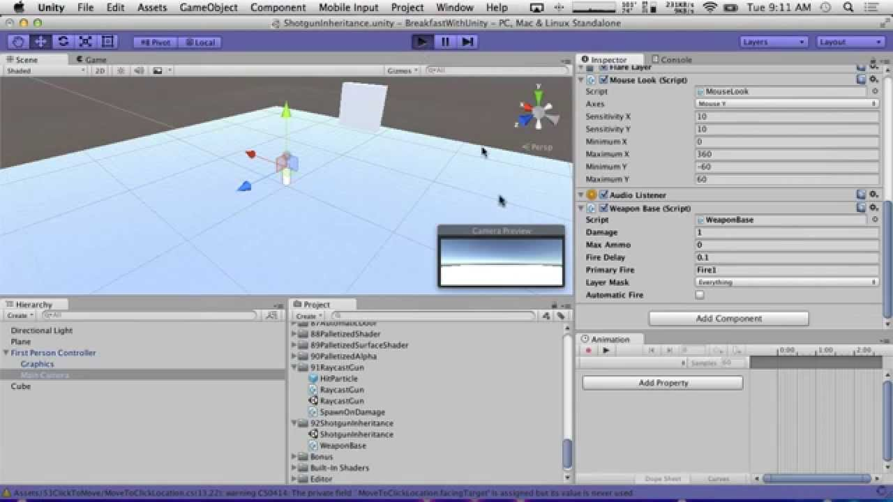 how to make a raycast shoot gun unity