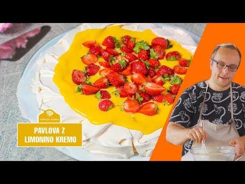 Pavlova z limonino kremo in jagodami