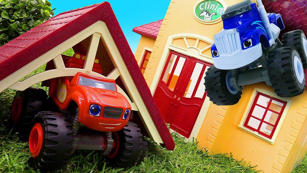 Crusher e Blaze apostam uma corrida até a escola! Blaze and the Monster Mchines em português