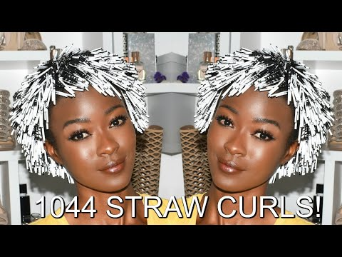 I Curled My Hair With 1044 STRAWS! 😲 15 HOUR Heatless Coffee Straw Roller Set