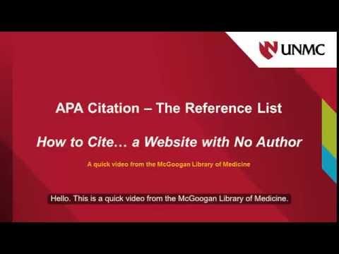 APA How to Cite a Website with No Author - YouTube