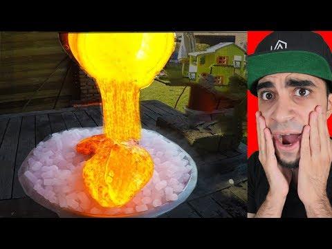 """وضع حمم بركانية على ثلج جاف """" صدمة !!!!!!! """""""