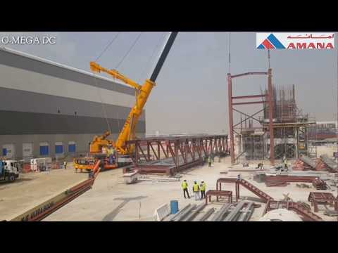 Lifting 45 Meters 95 Ton Access Bridge in Dubai Timelapse