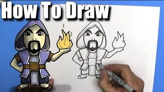 How To Draw the Wizard from Clash Royale - EASY - Step By Step