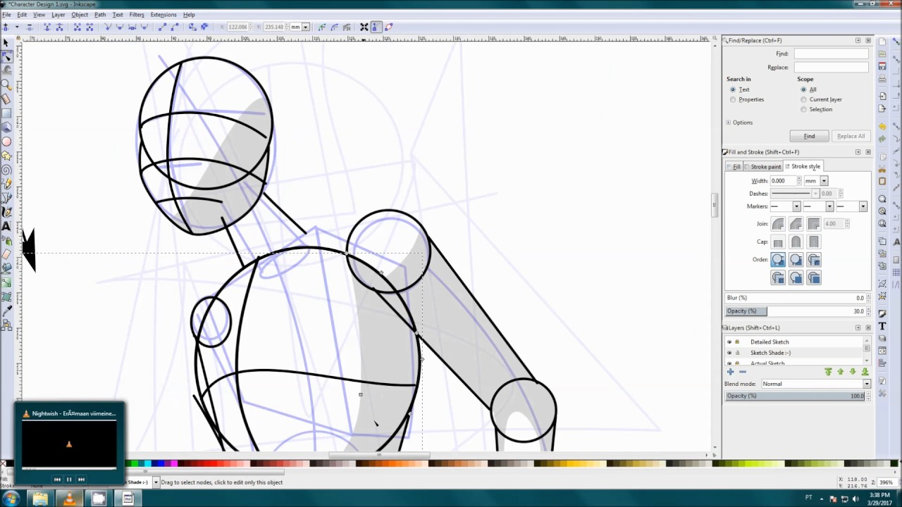 Drawing Lines In Inkscape : Inkscape character design part youtube