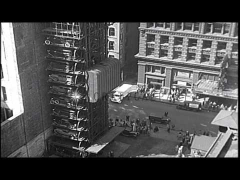 A new vertical car park installed in Chicago in United States HD Stock Footage