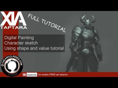 Digital Painting Tutorial: character art | sketching with shape and value tutorial.