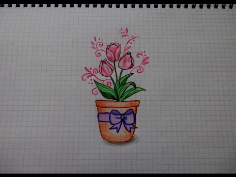 Простые рисунки #185 Как нарисовать РОЗУ