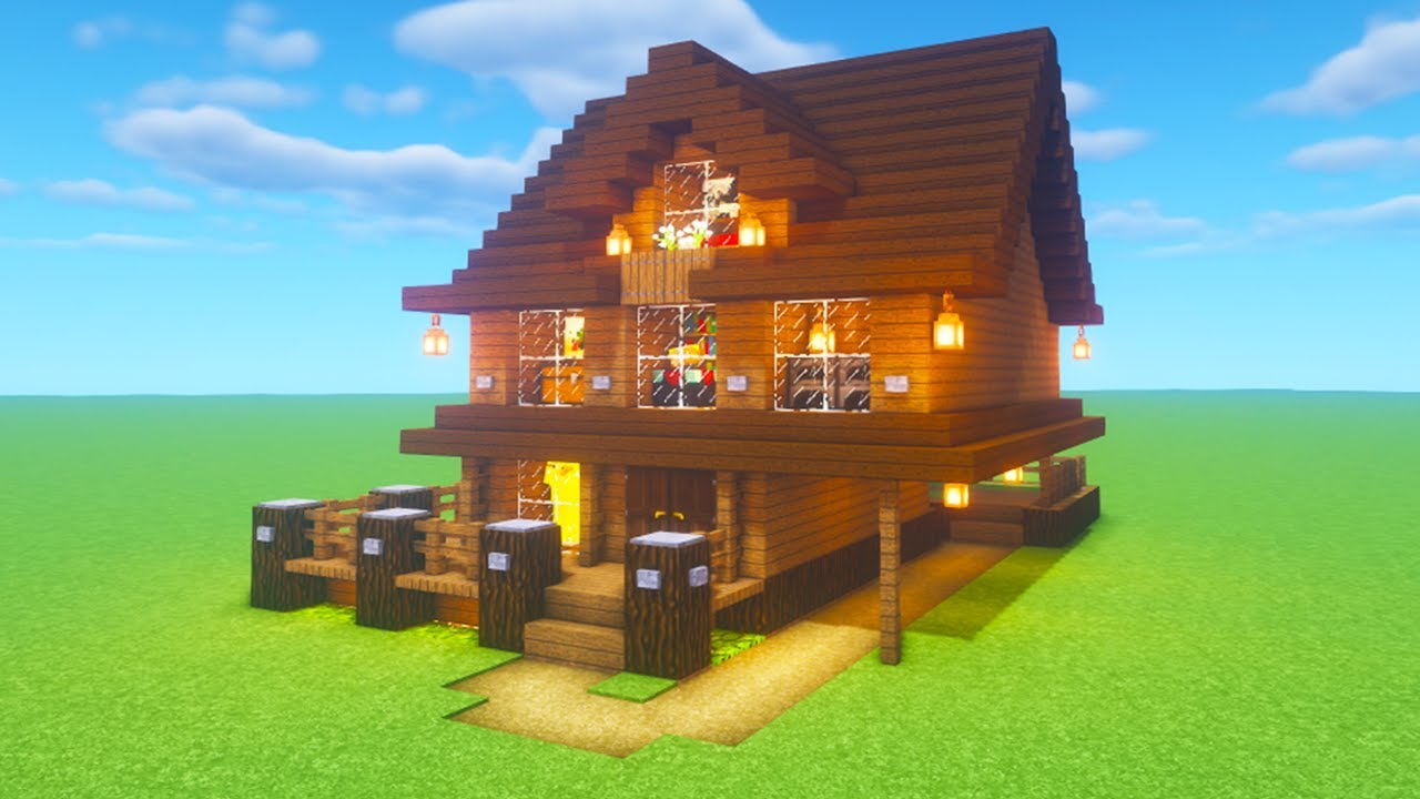 """Minecraft Tutorial: How To Make A Spruce Wood House 11""""11 Tutorial"""""""