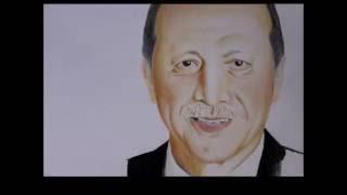 Recep Tayyip Erdoğan Renkli Çizim
