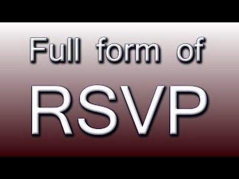 What is the full form of RSVP YouTube – Rsvp in Invitation Card Meaning