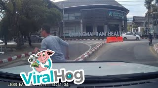 Out of Control Driver Lands in Moat || ViralHog