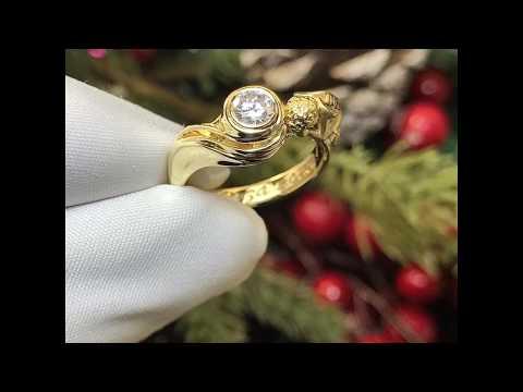"""Что подарить на рождение ребёнка? Золотое кольцо на заказ """"Спасибо за дочку"""" с бриллиантом, ангелом👼"""