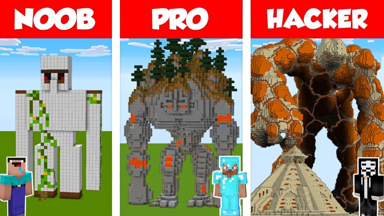 Download Minecraft NOOB vs PRO vs HACKER: GOLEM STATUE HOUSE BUILD CHALLENGE in Minecraft / Animation
