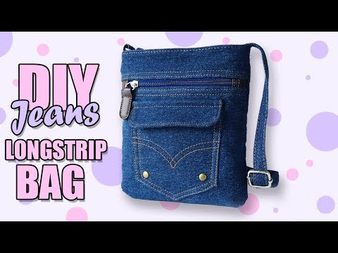 DIY JEANS CROSSBODY BAG FAST RECYCLE PANTS // Lovely Woman Purse From Old Jeans