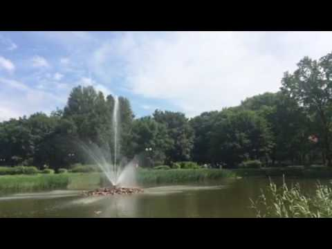 Water fountain on a lovely lake in Ursus, Warsaw, (Warszawa), Poland