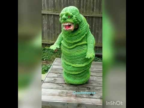 This Kid Wins Halloween With His Epic Crochet Slimer Costume Youtube