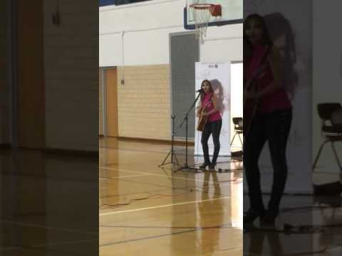 Cellis Kellogg sings at alms(Andrew Lewis middle school)
