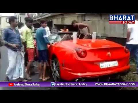 #Ferrari Sports Car Crashes Into flyover...