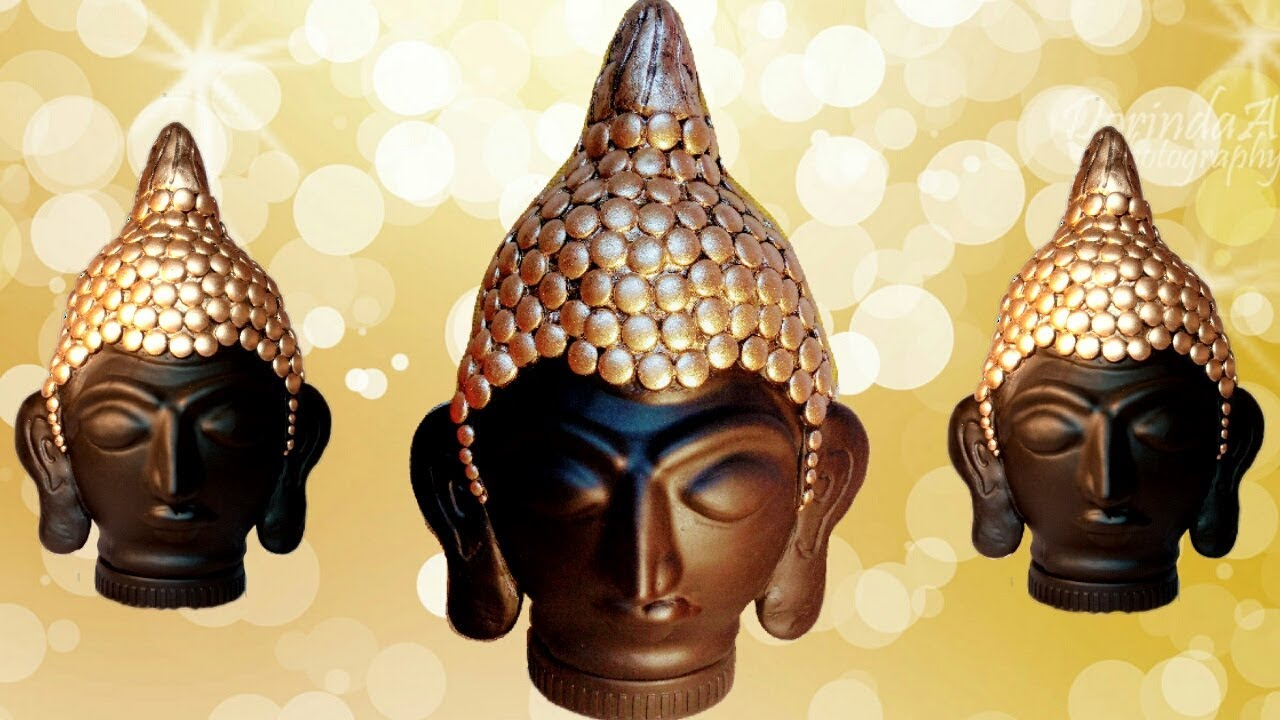 How to make clay mural buddha with plastic bottle craft for Clay mural making