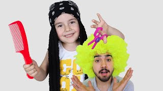 Yusuf Playing with Hairdresser Toys - Funny Kids Video
