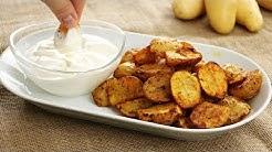 Knusprige Potato Wedges aus dem Ofen mit Sour Cream Sauce - knusprige Ofenkartoffeln mit Schale
