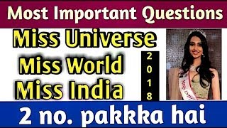 MOST IMPORTANT CURRENT AFFAIRS:- Miss World ,Miss Universe,Miss India, Miss Asia,Miss international