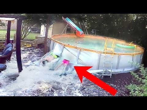 Slashing Pool Open from Inside | Family Sucked Out