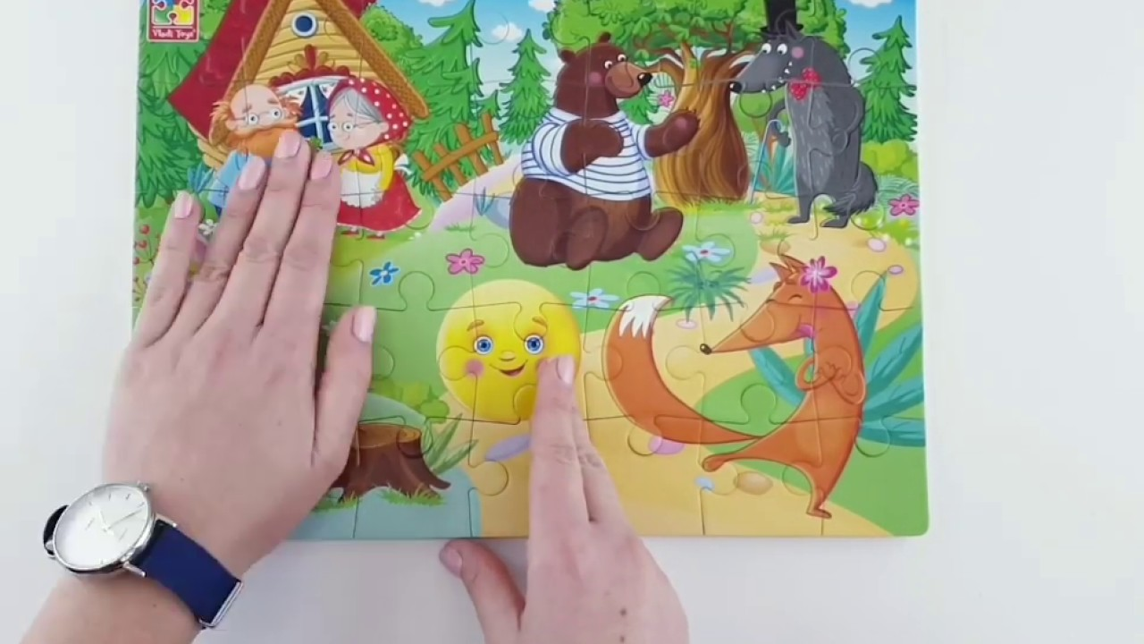 Vladi Toys VT1102-19 Мягкие пазлы Сказки Колобок А4 35 элементов