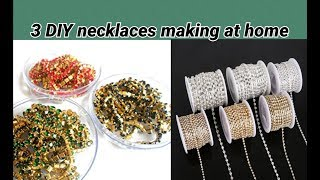 3 DIY necklaces making with stone chain