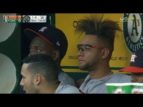 HOU@OAK: Athletics' broadcast shows Gurriel's haircut