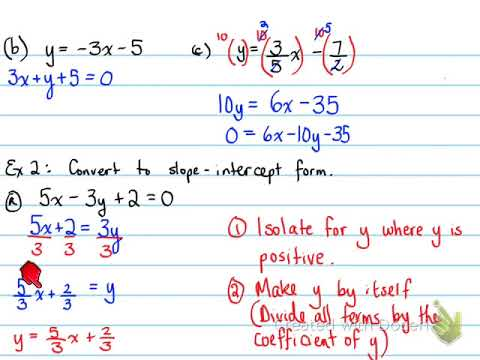 1d 62 The Equation Of A Line Standard Form Youtube